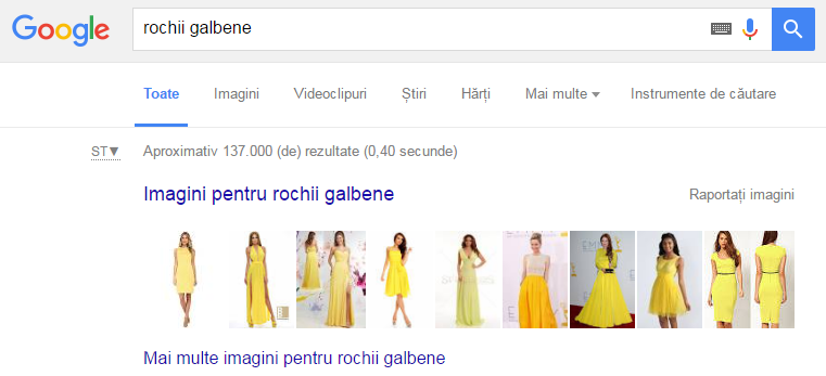 exemplu de rezultat pentru rochii galbene