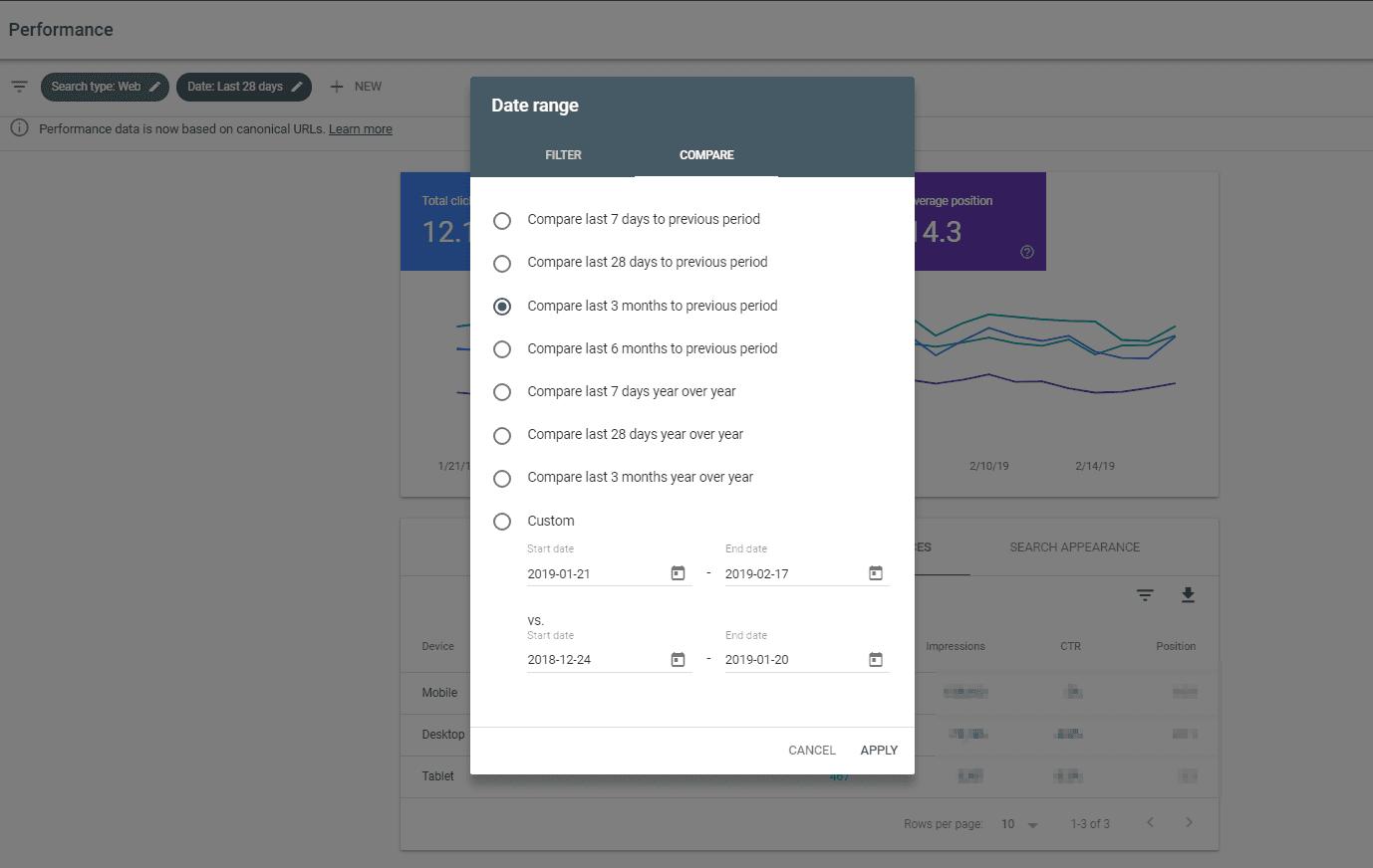 GSC filtrare date